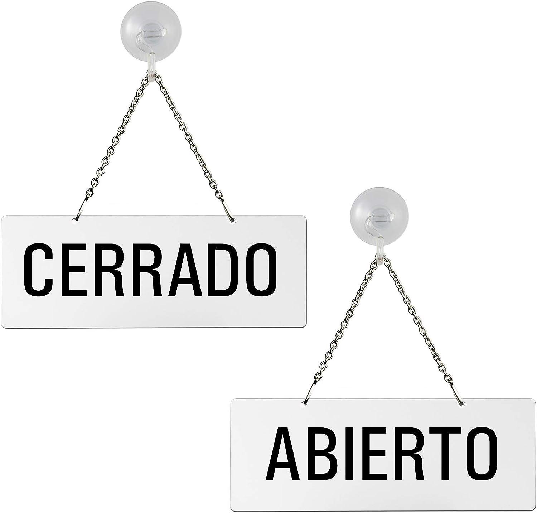 Cartel Doble Cara para Colgar | con Ventosa | Melamina Blanco | Abierto - Cerrado | 175x65 mm | auténtico Ofform | No.31209-WS