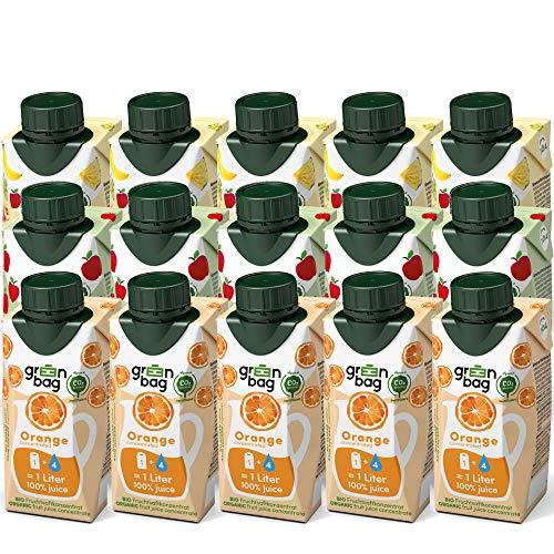 Green-Bag Bio Fruchtsaft Konzentrat: Apfel Orange Multivitamin Mix 15x 200ml Fruchtsaftkonzentrat = 15l Apfelsaft Orangensaft Multifruchtsaft   100% natürlich Multifrucht Saftkonzentrat Saft Getränk