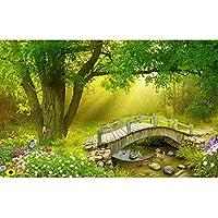 写真壁紙3d効果パノラマ壁画の森リビングルーム子供寝室家の装飾壁ポスター-自己接着性の不織布_250x180cm-5パーツ