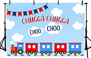 MEHOFOTO 7x5ft Red Blue Train Birthday Party Boys Photography Background Chugga Chugga Blue Sky White Clouds Choo Choo Backdrops Baby Shower Decoration Photo Booth Banner Props