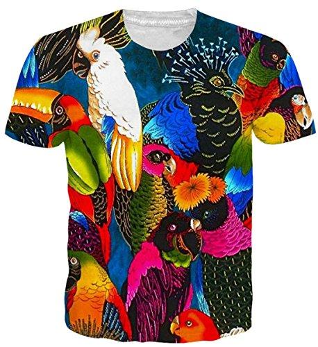 uideazone Herren Papagei T-Shirt Kurzarm-Shirt Casual Strassenmode Sport Spaß Tops