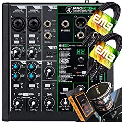 Mackie ProFX6V3 Mixer + EMB XLR Cable (2) + Gravity Phone Holder Bundle GigFX effects engine delivers 24 effects including reverbs, delays, and choruses 2 Mackie Onyx mic preamps deliver clear signal and 60dB of gain 2 Band EQ and 100Hz low-cut filte...