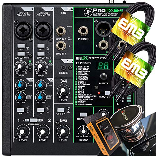Mackie ProFX6v3 6-Channel Mixer with USB and Effects with Pair of EMB XLR Cable and Gravity Magnet Phone Holder Bundle, (2)