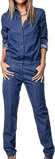 Women's Loose Long Sleeve Denim Romper High Neck Long Pants Jumpsuit with Tie Waist