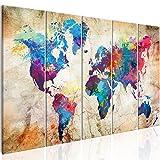 murando - Bilder Weltkarte 200x80 cm Vlies Leinwandbild 5 Teilig Kunstdruck modern Wandbilder XXL Wanddekoration Design Wand Bild - Abstrakt bunt Landkarte Reise k-A-0179-b-o