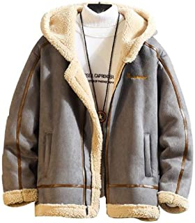 MogogNMen Warm Sherpa Lined Hooded Pockets Oversized Leather Pea Coat
