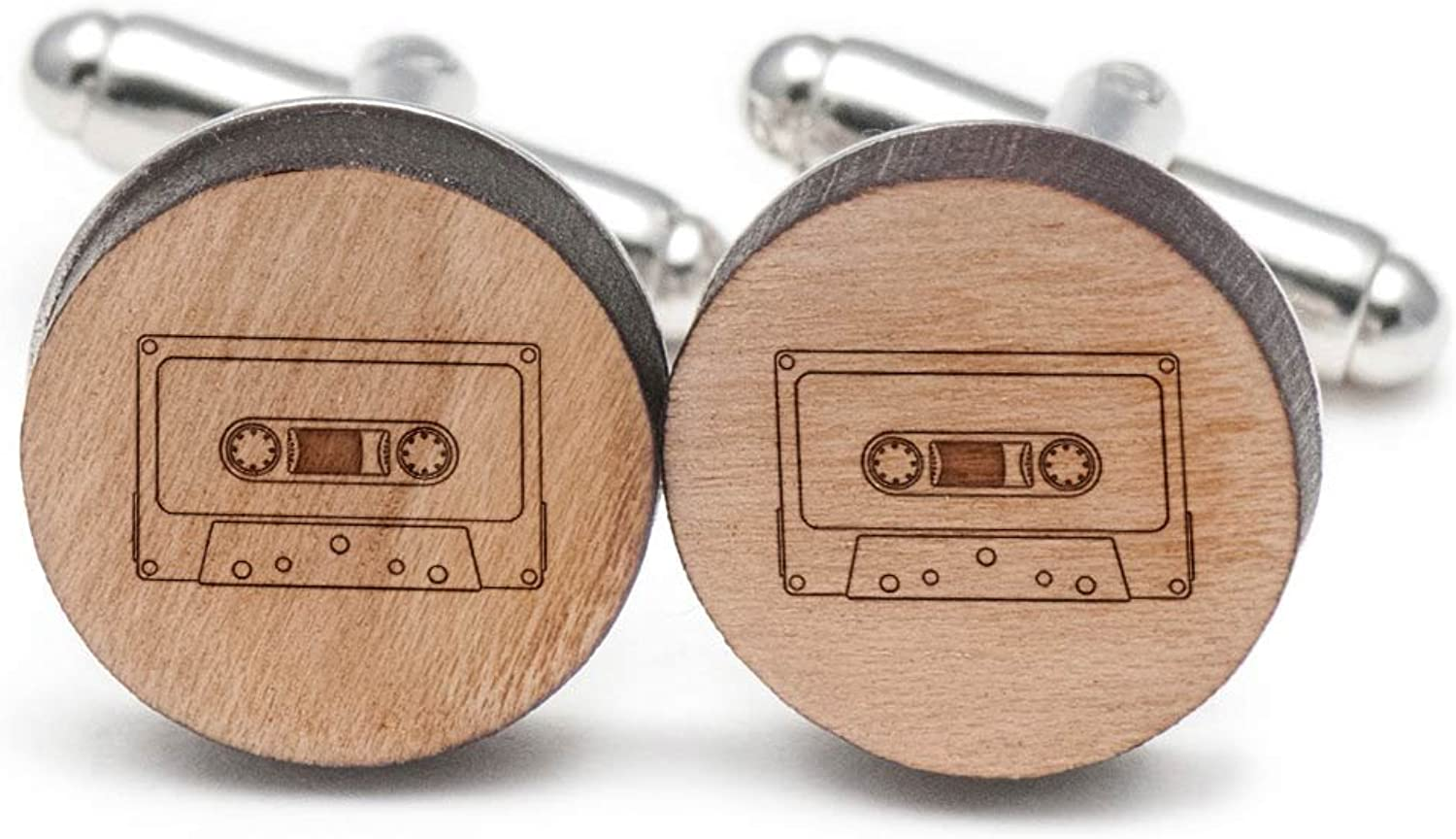 Wooden Accessories Company Tape Cassette Cufflinks, Wood Cufflinks Hand Made in The USA