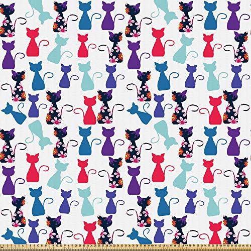 ABAKUHAUS Gatito Tela por Metro, Bebé Gatos Flores Colores, Microfibra Decorativa para Artes y Manualidades, 1M (230x100cm), Multicolor