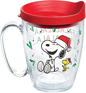 Tervis 1269601 Peanuts Christmas Santa Mug with Lid, A spirited Snoopy and Woodstock tumbler puts a song in your heart-and great beverages in your hand-this holiday season. , Red