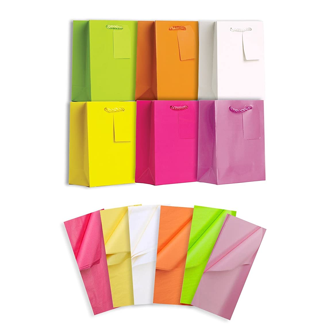 Jillson Roberts 6-Count Small All-Occasion Solid Color Gift Bags with Tissue Available in 4 Different Assortments, Pretty Pastels