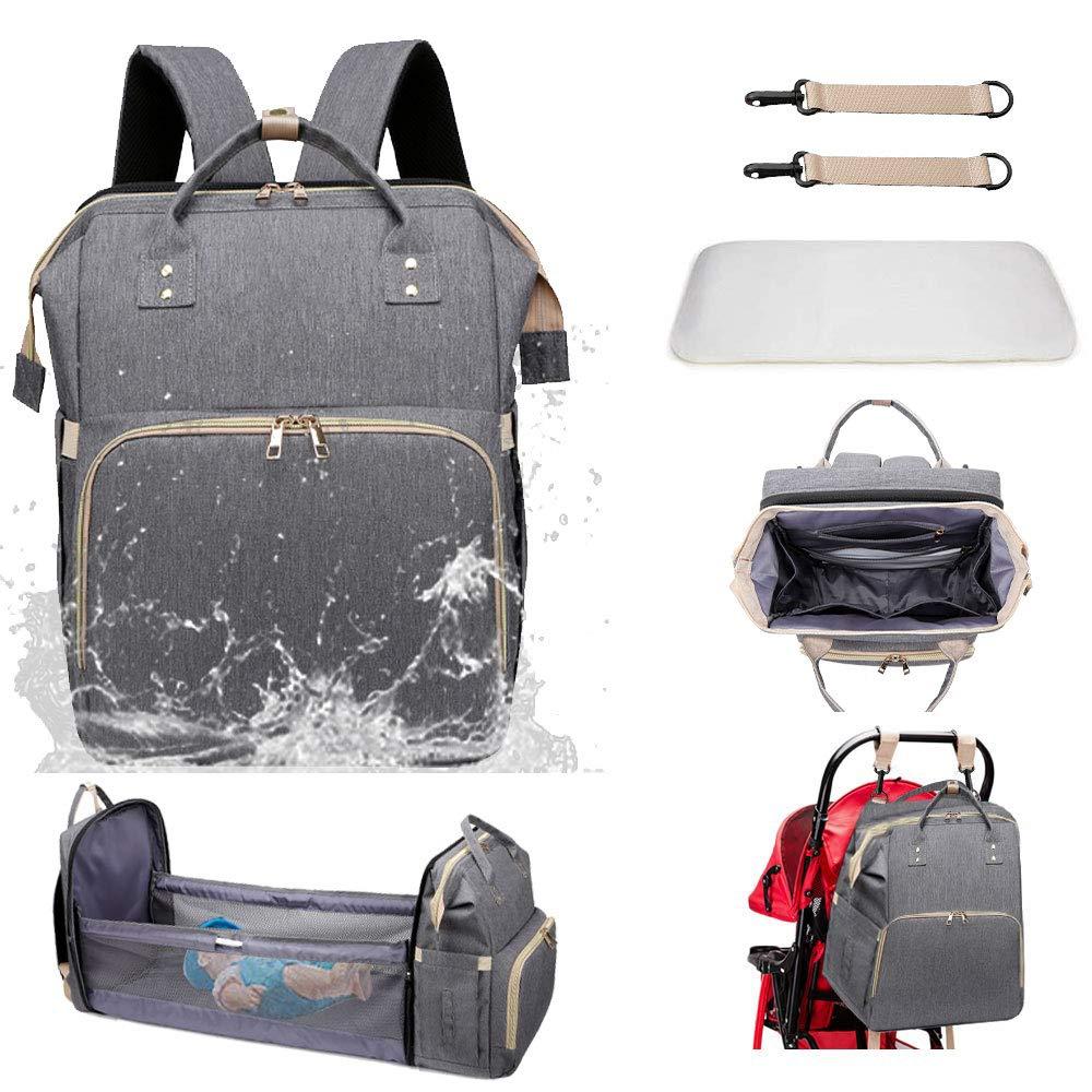 3 in 1 Diaper Bag Backpack Baby Nappy Storage Backpacking Sleeping Travel Bag Portable Crib Foldable Multifunction Waterproof (gray3)
