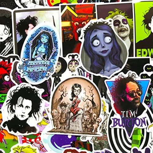 Tim Burton Movies Series Aufkleber für Laptop, Computer, Gepäck, Sammlung, Autos, Becher, lustig, Graffiti-Aufkleber, 60 Stück