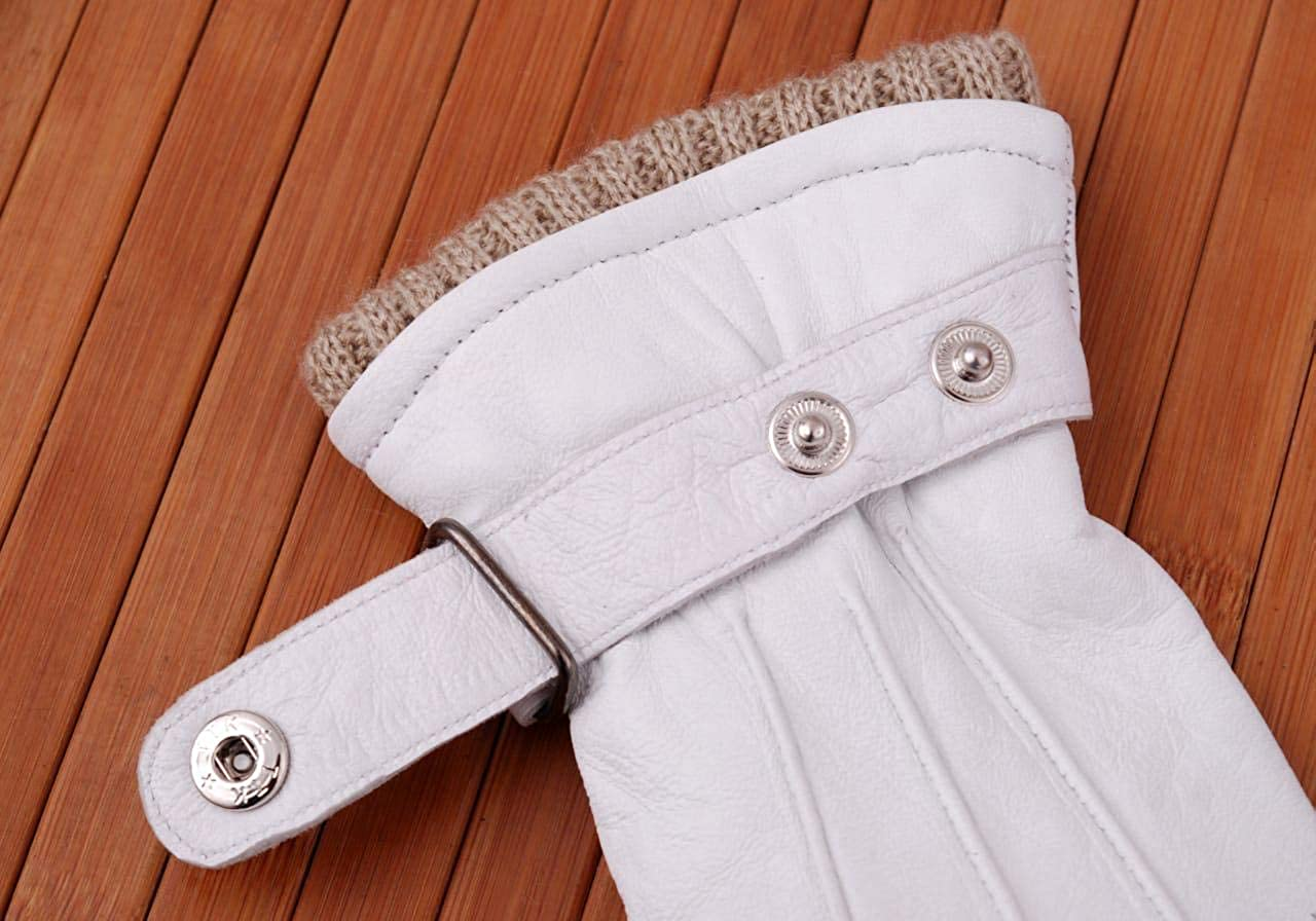 Women Genuine Sheep Leather Winter Dress Driving Riding Texting Gloves with Wool and Fleece Lining (White, X-Large)