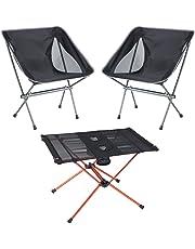 FLAMROSE アウトドア 折りたたみチェア テーブル 折り畳み 簡単に収納 耐荷 ダイニング3点セット (ブラック)