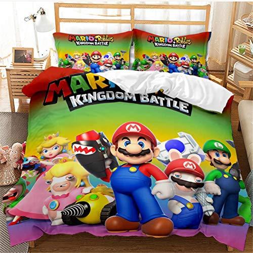 YuanLu Mario Kingdom Battle 3D Print Boys Girls Bedding Set 3PC Duvet Cover Set for Kids Bedroom Ultra Soft Microfiber Double