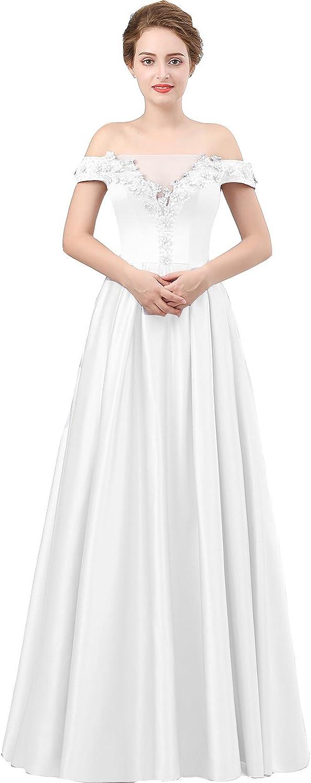 Lemai Women Formal Off Shoulder Sheer Beaded Floral Long Prom Evening Dresses