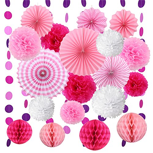 VEYLIN 20 Pieces Hanging Paper Fans Set - Tissue Paper Pom Poms Flower Fan and Honeycomb Balls Circle Paper Garland for Birthday Wedding Festival Decorations - Pink