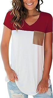 قمصان نسائية برقبة على شكل حرف V كاجوال بأكمام قصيرة وأكمام طويلة