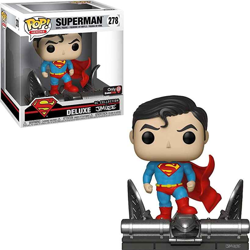 Superman (GameStop Exclusive Deluxe DC Collection by Jim Lee): Funko POP! Heroes Vinyl Figure & 1 Official DC Trading Card Bundle [#278 / 34072]