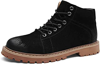 SHENYUAN Men's Retro Ankle Boots Classic Work Boot Lace up Genuine Leather Low Heel Wear Resisting Round Toe Burnished Style Stitch Work or Casual Wear (Color : Gray, Size : 40 EU)