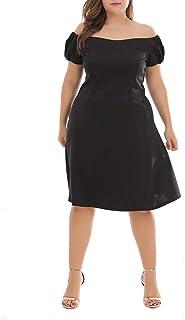 MKHDD Frauen Plus Größe Weg von der Schulter reizvolle Rüschen Hauchhülse eine Linie knielangen Partykleider