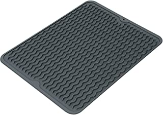 Lounge Shop Silicone Dish Drying Mat Easy Clean Dishwasher Safe Heat Resistant Eco-Friendly Trivet Black 16