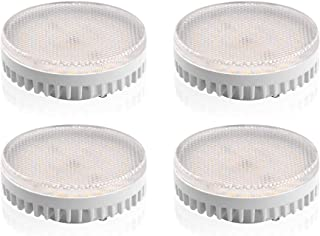 Luxvista LED Gx53 Light Bulb - 10W Gx53 LED Under Cabinet Light Ceiling Down Light Replacement Traditional Halogen Gx53 Spotlight for Puck Light, Showcase, Exhibition 120V Daylight 6000K (4-Pack)
