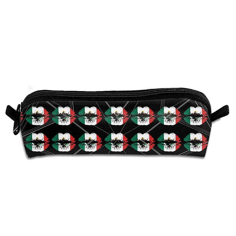 Wodehous Adonis Mexico Flag And Lip Canvas Cosmetic Pen Pencil Stationery Pouch Bag Case