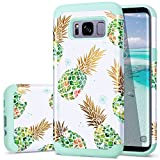 S8 Case,Galaxy S8 Case Pineapple,Fingic Shiny Pineapple&Green Silicone Summer Case 2 in1 Hybrid Skin Support Wireless Charging Cover for Samsung Galaxy S8 2017 (5.8 Inch),Green Pineapple/Dandelion