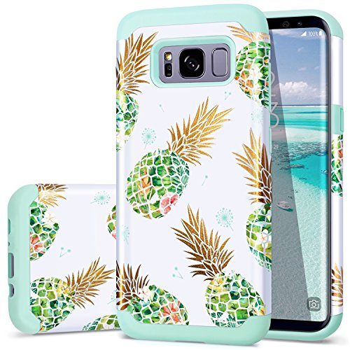 S8 Case,Galaxy S8 Case Pineapple,Fingic Shiny Pineapple Green Silicone Summer Case 2 in1 Hybrid Skin Support Wireless Charging Cover for Samsung Galaxy S8 2017 (5.8 Inch), Green Pineapple/Dandelion
