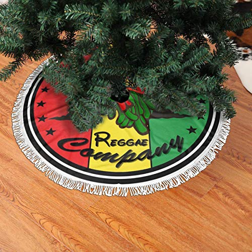 Christmas Tree Skirt, Reggae Rasta Lion Holiday Xmas Decorations, New Year Ornaments with Tassel Border