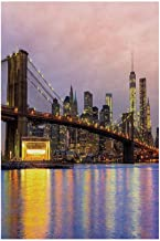 Polyester Garden Flag Outdoor Flag House Flag Banner,Modern,Sunrise Time at Manhattan Silhouette with Dramatic Lights New York Scene,Baby Pink Lilac Yellow,for Wedding Anniversary Home Outdoor Garden