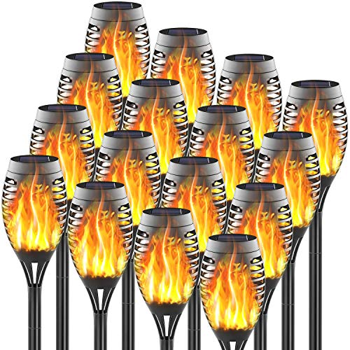FITSAN 16Pack Mini Solar Torch Lights, 12 LED Solar Lights Outdoor Torches Flickering Flames, Waterproof Landscape Decoration Lighting for Garden Pathway Patio, Dusk to Dawn Auto On Off