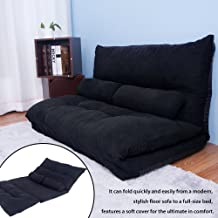 Merax Floor Sofa Bed Adjustable Futon Sleeper Bed Lazy Sofa Couches Living Room Furniture with Two Pillows (Black)