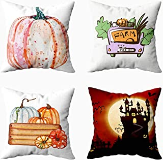 Musesh 4 Fall Pillow Covers,Autumn Thanksgiving Day Halloween Day Home Décor Pack 4 Handdrawn Logo Family Farm Fresh Vegetable for Sofa Home Decorative Pillowcase 20x20Inch Pillow Covers