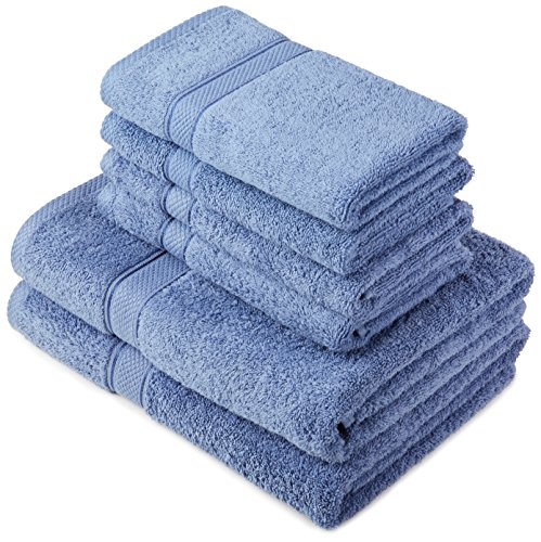 Pinzon by Amazon Handtuchset aus Baumwolle, Wedgewood-Blau, 2 Bade- und 4 Handtücher, 600g/m²