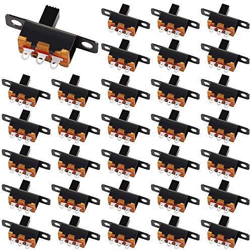100Pcs Mini Schiebeschalter 3IN 2 PositionenSchiebeschalter 3-poliger Schiebeschalter Einbauschalter-Set zum Schweißen von Mini-Gleitplatten, Micro Rast Kippschalter SS12F15
