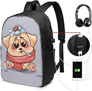 Mochila con Interfaz USB Unisex Backpack with USB Charging Port Dog is Sick Classic Fashion General Business Bookbag