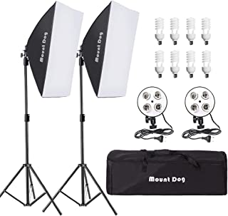 MOUNTDOG Softbox Lighting Kit 1600W Photography Professional Continuous Studio Lights Equipment with E27 5500K Bulbs and 2 Reflectors for Fashion Portrait Product Photography