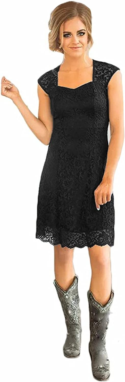 MariRobe Women's Lace Cap Sleeve Illusion Short Bridesmaid Dress for Wedding Party