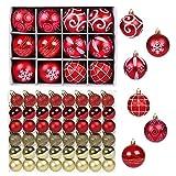 GWHOLE 60 Piezas Kit de Bolas de Navidad Adornos Colgantes para Árbol Navidad Bola Dorado Rojo Decorado Adornos Bolas Colgantes de Estilos Varios