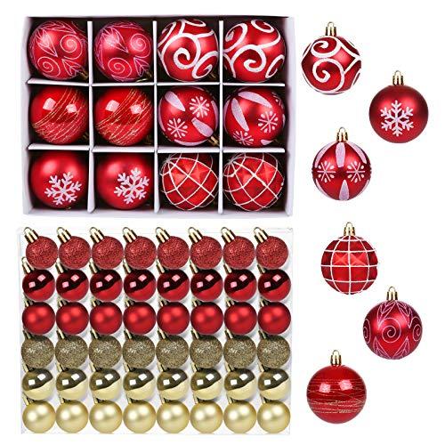 GWHOLE 60 Pezzi Palline di Natale di Plastica Oro e Rosso, Decorazioni Albero di Natale Palline di Natale con Stringhe, Palline di Ornamenti Albero Natale Decorazioni per Feste