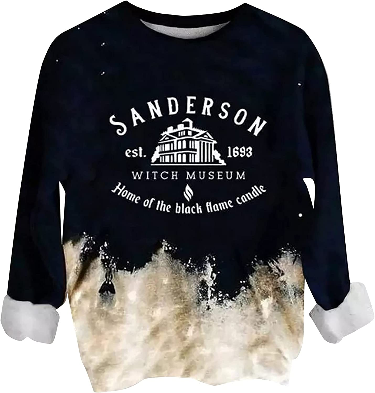 Soft Tops for Women Sanderson 1963 Tie-dye Casual Long Sleeve Hoodie Sweatshirt Pullover Cotton Loose Blouse
