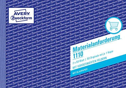 AVERY Zweckform 1110 Materialanforderung (A5 quer, 2x50 Blatt, mit 1 Blatt Blaupapier und 1 Durchschlag, zur Angabe von Menge, Bezeichnung, Kostenstelle, Verbrauch, Buchung u.v.m) weiß/gelb