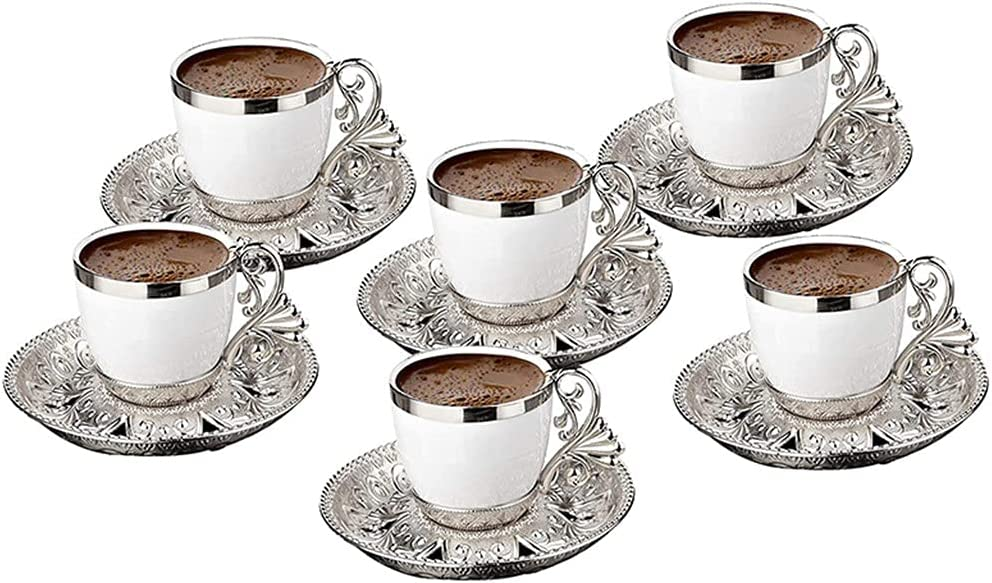 ZNBJJWCP Turkish 5 ☆ popular Coffee Cup Saucers Set 4 Person Porcelain 6 for Many popular brands