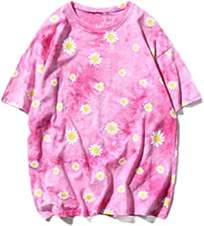 WUFAN Womens O-Neck Blouse Lounge Short-Sleeve Floral Printed Tees Shirt