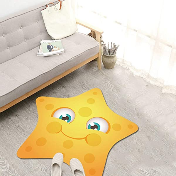 JIFAN Child Cartoon Game Pad Girl Room Decoration Rug Baby Crawling Mat Household Crystal Velvet Non Slip Carpet Children Rug With Animals For Playroom Classroom Preschool Kindergarten Nursery