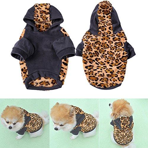 Hjuns® Costume imprimé léopard vêtements chauds à capuche pour Animaux Chiens en Cotton Flannelette