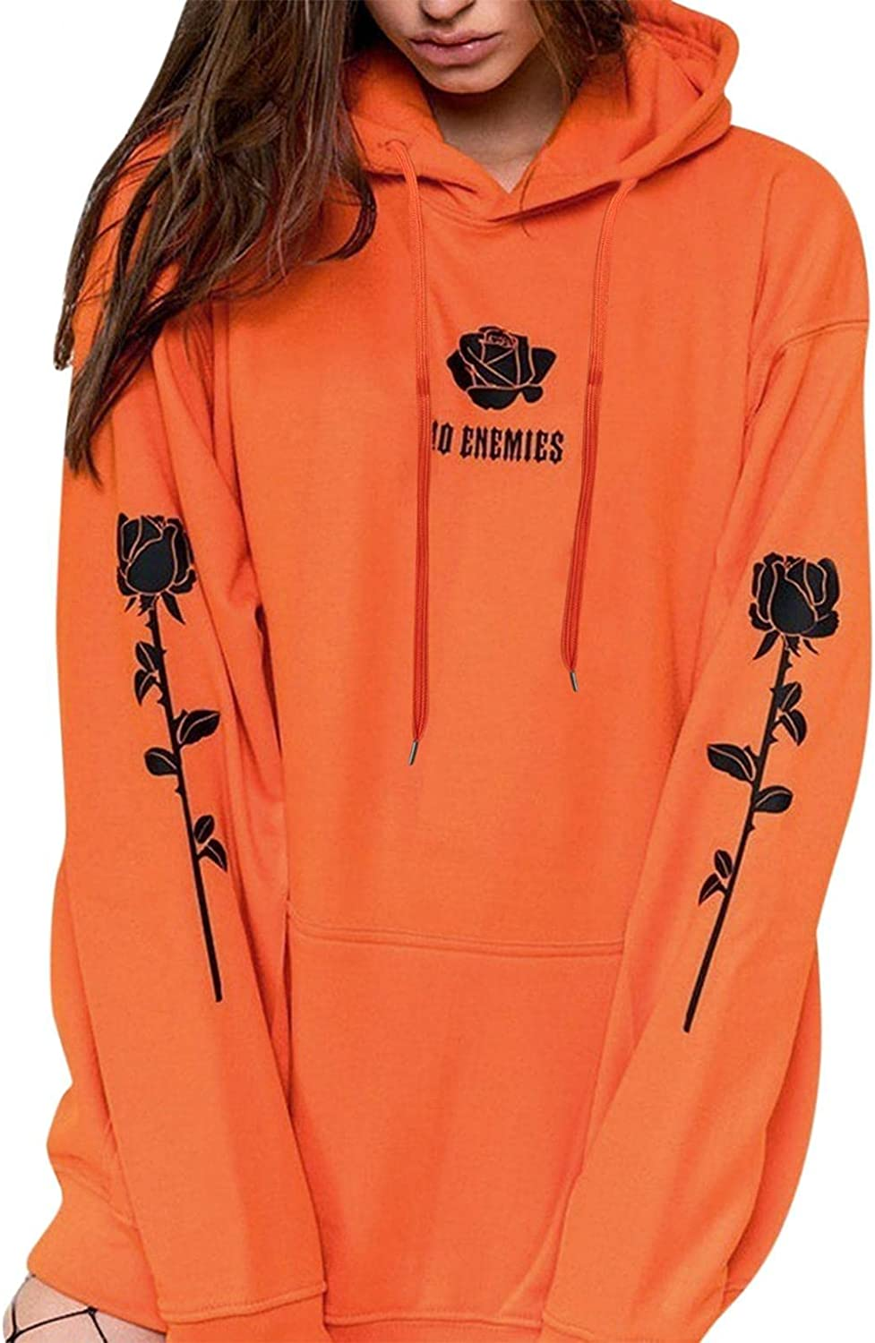 LIEIKIC New product!! Sweatshirts for Women Hoodie Pullover 4 years warranty Graphic Rose Print