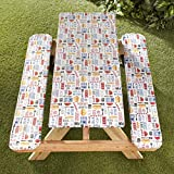 The Lakeside Collection Picnic Table and Bench Seat Covers with Elastic Edges - BBQ - 3 Pieces